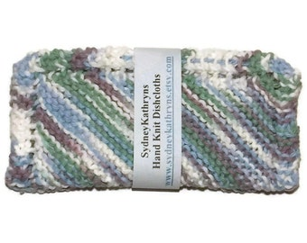 Brown, Green, Blue and White  Hand Knit Dish Cloths