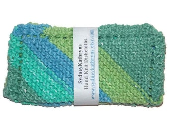 Blue and Green Ombre Hand Knit Dish Cloths Enjoy Cleaning