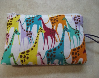 colorful giraffes padded makeup jewelry bag