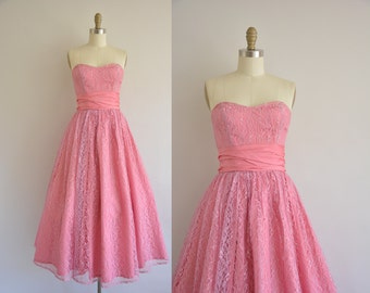 vintage 1950s dress rosy pink lace party dress. 50s strapless dress