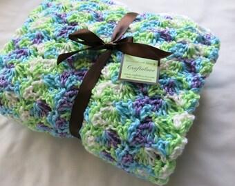 Crochet baby blanket- Baby Girl Blanket- Crochet Baby girl blanket- baby blanket Crib size Multi color Shell Waves -Baby Girl shower gift