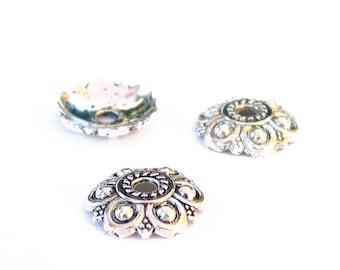 14pcs antique silver 12mm x 3mm large Flower bead cap metal findings LEAD FREE