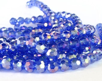 """8"""" 37pcs Sapphire Blue AB 6mm designer crystal round Beads faceted glass"""