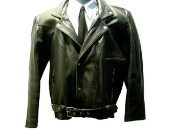 Vintage Rockabilly Motorcycle Jacket Mens Black Leather Western Yoke Cowboy Biker Jacket Size Large