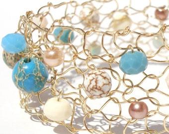 Beach Bracelet gold cuff bracelet turquoise gold bracelet wire knit jewelry delicate wire mesh cuff stone pearl crystal