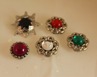 5 Vintage Button Covers 2 Styles Silver Metal colored Glass Shirt button covers stars circles