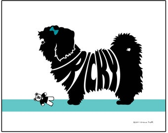 Personalized Shih Tzu Silhouette Print, Dog Name Art Wall Decor, Shih Tzu Lover's Gift, Pet Memorial Gift