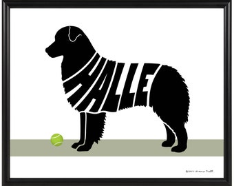 Personalized Australian Shepherd Print, Framed 8x10 Aussie Dog Silhouette Wall Art, Dog Decor