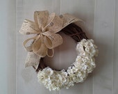 Wreath,  Small grapevine wreath, French Country,  Wall decor,  Door decor, French Market, Paris chic