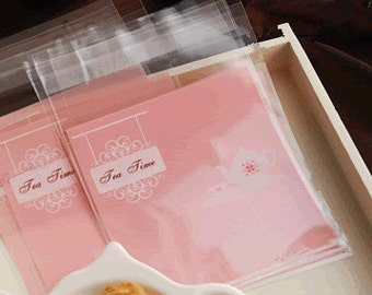 "Small Favor Mini Bags, Self-Seal Party Packaging, ""Tea Time""  - set of 10"