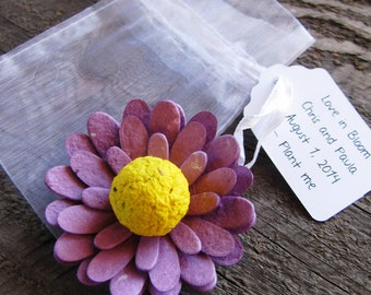 25 Gerbera Daisy Seed Paper Favors in Organza bags WITH personalized tags