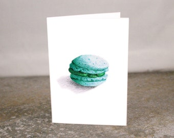 Blank French Macaron Mint Green Cookie Illustration Mini Card Printed from Original Art 3.5 x 2.5