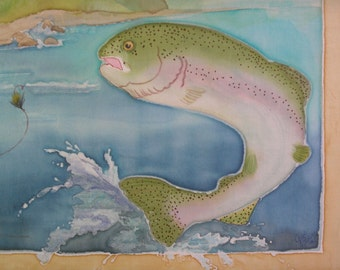 Quilt Block Fly Fisherman and Rainbow Trout Hand Painted on Cotton Fabric Panel Father's Day