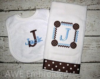 Monogrammed Bib and Burp Cloth Set for Baby Boy in Blue and Brown - Custom Personalized