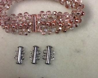 2 strand sliding tube clasp 4pc gunmetal