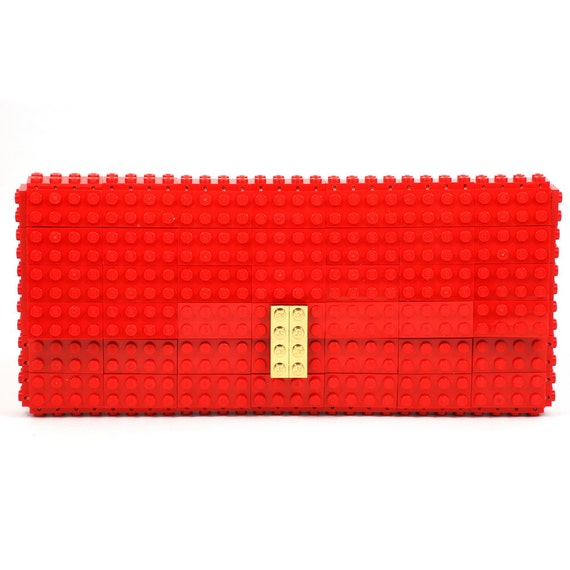 Red clutch purse with real gold plated elements made with LEGO® bricks FREE SHIPPING purse handbag legobag trending fashion