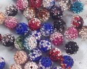 10 Pave Rhinestone Beads, Shamballa Beads, GRADE AAA, Disco Ball Beads,  Mixed Shamballa Beads,Round, 10mm, 10 pcs