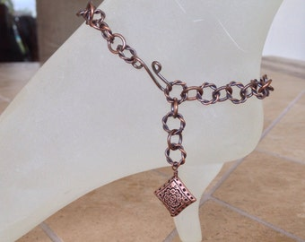 Antique Copper Anklet with Antique Copper Wire Wrapped Copper Charm 10.5 Inches Long With Your Choice of Clasp