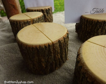 Rustic Wedding Log Table Number Stand Place Card Setting