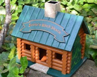 Personalized Hand Painted Log Cabin Birdhouse