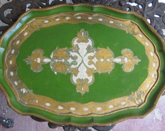 Sweet Vintage French  Gold  n  gold white Gesso Florentine Italian Serving Tray