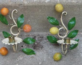 Sweet Charming Shabby Chic Vintage Italian Tole Wall   Candle Sconces Fruit Orange leamons