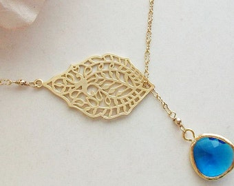 Blue necklace, Sapphire Necklace, lariat, India Golden Paisley Necklace, 14k gold fill, Sapphire Crystal, Bridesmaids, Birthday