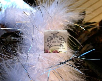Marabou Boa Feathers White & Silver Tinsel Shimmer