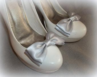 SHOE Clips in Bridal Satin, bridesmaids, Brides, Wedding, Special Occassion, Mother of Bride Groom