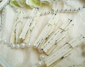 Cream & Raven (Ivory/Black) Distressed Mini 2 Inch Clothespins Set of 6 - Wedding Decor. Family Photo Banner. Shabby Chic.