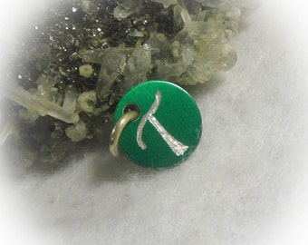 Letter T Hand Engraved Green Personalized Small  Charm 1/2 inch