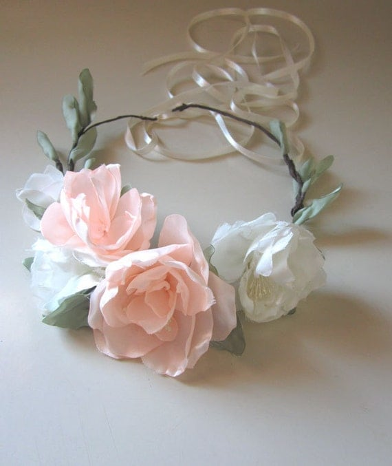 50% OFF SALE Romantic Cherry blossom Floral Crown Bridal Headpiece Spring Wedding Powder Pink Peach Mint wedding