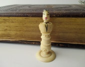 antique hand carved pawn - chess piece, cream, bone