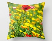 Wild Poppies - Throw Pillow Cover, Fine Art Photography, Garden Flower, Pink Poppy, California Poppies, Floral Home Decor, Cozy Cottage