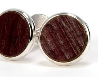 Wine Barrel Silver Cufflinks – Wooden Cuff Links - Wedding Cufflinks - Perfect Gift Idea for Graduation, Anniversary, Father's Day