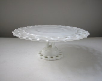 Westmoreland Milk Glass Cake Stand / Doric Pattern Wedding Cake Stand