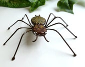 Green Brown Spider Teddy Bear Wire Art Perfect for Entomologists and Bug Lovers