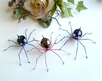 Hanging Spiders Three Small Colorful Handmade Christmas Ornamental Spiders Pet Spider Cool Gift for Teens Nature Lovers Copper Wire Art