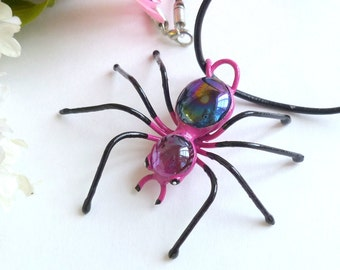 Spider Pendant Pink and Black Spider Wire Art Unique Jewelry Perfect Gift for Entomologists and Bug Lovers Painted Spider for Teenagers