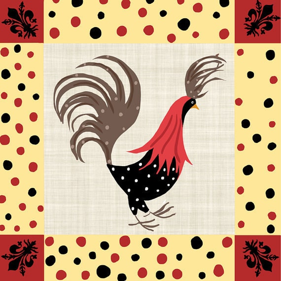 Items similar to rooster wall decor kitchen polka dot - Rooster wall decor kitchen ...