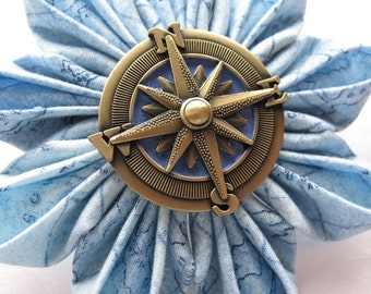 Sailing the Seven Seas Kanzashi Flower Barrette