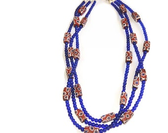Brick red, white, and blue Vintage Italian Murano glass beads, with cobalt blue beads,  and vintage  white shell Mother of Pearl beads