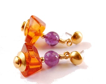 Gemstone Dangle Earrings Baltic Amber and real Amethyst beads with gold vermeil accents Purple and Gold Amethyst and Amber earrings