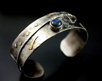 Unique Handmade Silver bracelets,  Silver Cuff Bracelet, Rustic Jewelry, Metalwork, Labradorite,  Silver jewelry, Gold