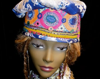 Hat Beret Brilliant Blue and White Vintage Brocade Indian Embroidery Mirror Work Gypsy World Peace Hat