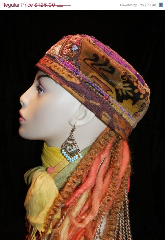 Reserved for S           Hat Red Violet Earth Tones Gypsy World Peace Hat