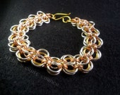 Mixed Metal Bracelet-Mixed Media Bracelet, Mixed Metal Chainmail, Mixed Media Chainmail