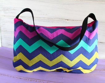 Chevron Melody Hobo Bag with navy canvas lining