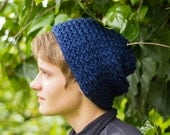 Navy Blue Knitted Folk Slouch (Made to Order)
