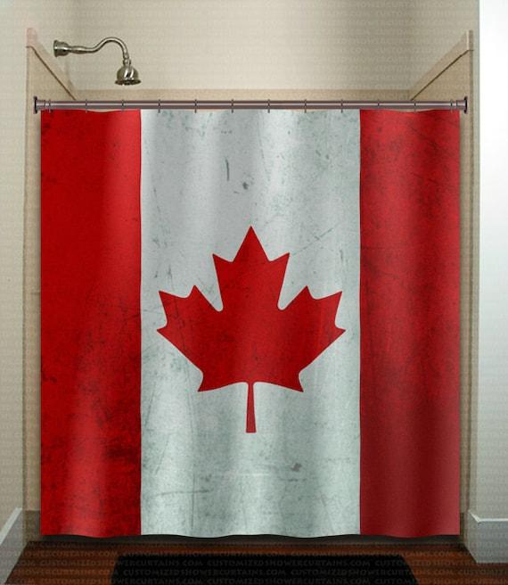 Red maple leaf canada flag shower curtain fabric extra long for Bathroom decor canada